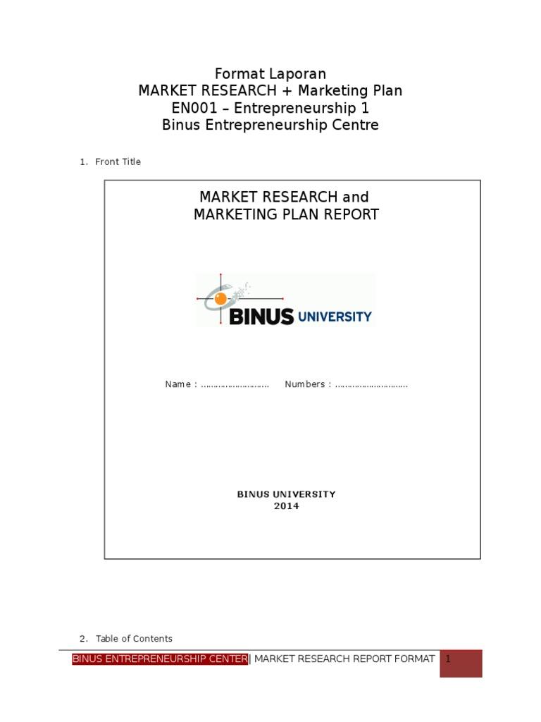 Format Laporan Market Research - Revised | Entrepreneurship ...