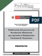 Proyecto del Reglamento Nacional de Tasaciones