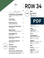 Row 34 Counter Service Menu 2016