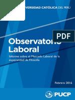 Informe sobre el Mercado Laboral de la especialidad de Filosofía