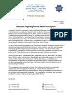 SFPD Statement on Internal Affairs Investigation