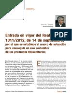 Legislación Ambiental%3a Entrada en Vigor Del Real Decreto 1311%2f2012%2c de 14 de Septiembre%2c Por El Que Se Establece El Marco de Actuación Para Conseguir Un Uso Sostenible de Los Productos Fitosanitarios.