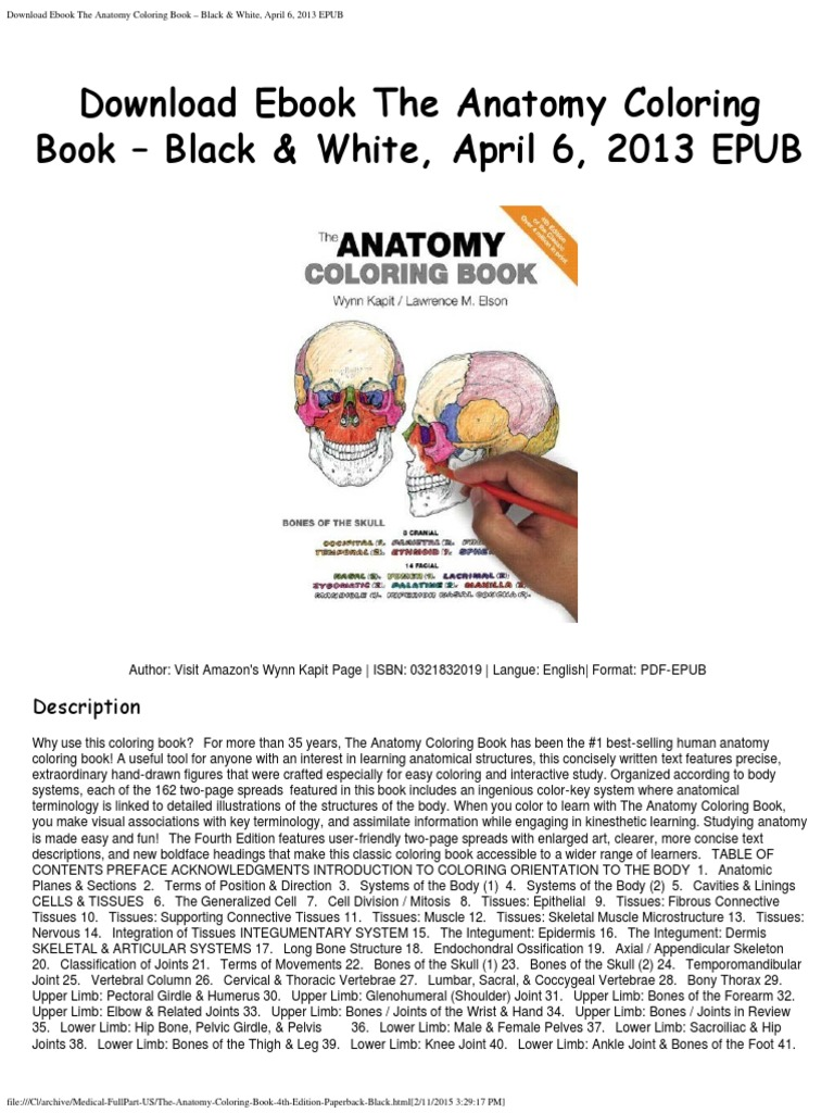 The anatomy coloring book kapit download - The Anatomy Coloring Book 4th Edition Paperback Black Pdf Lymphatic System Central Nervous System