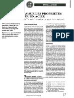 Effets Du Ttas Sur Les Proprietes Du Metal Fondu en Acier