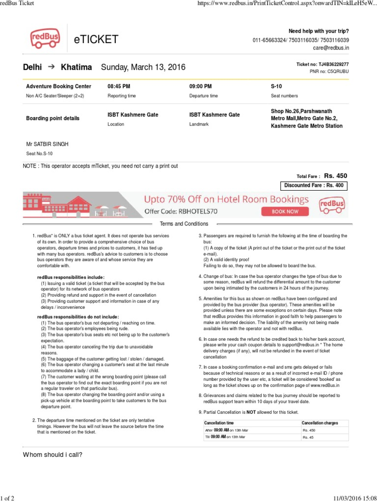 Great RedBus Ticket | Ticket (Admission) | Bus