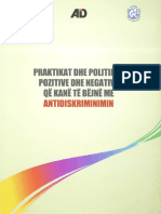 Analiza e praktikave dhe politikave pozitive dhe negative që kanë të bëjnë me antidiskriminimin
