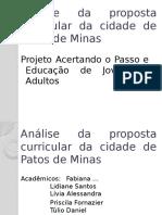 Análise Da Proposta Curricular Da Cidade de Patos de Minas