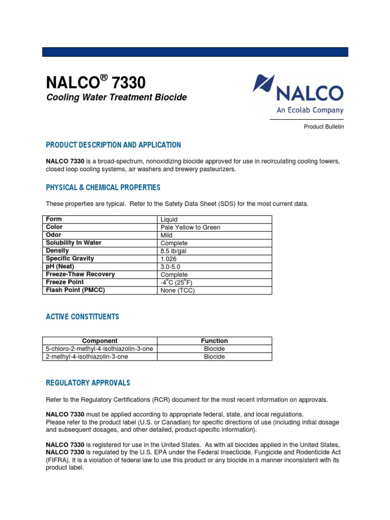 NALCO 7330 Cooling Water Treatment Biocide pdf