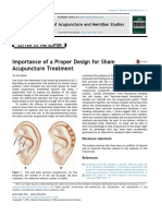 Importance of a Proper Design for Sham Acupuncture Treatment