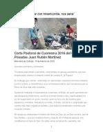 Carta Pastoral de Cuaresma 2016