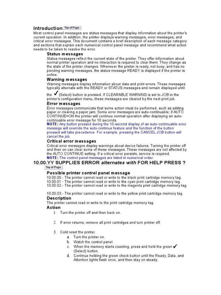 Colour LaserJet 5500 Error Codes | Booting | Printer (Computing)