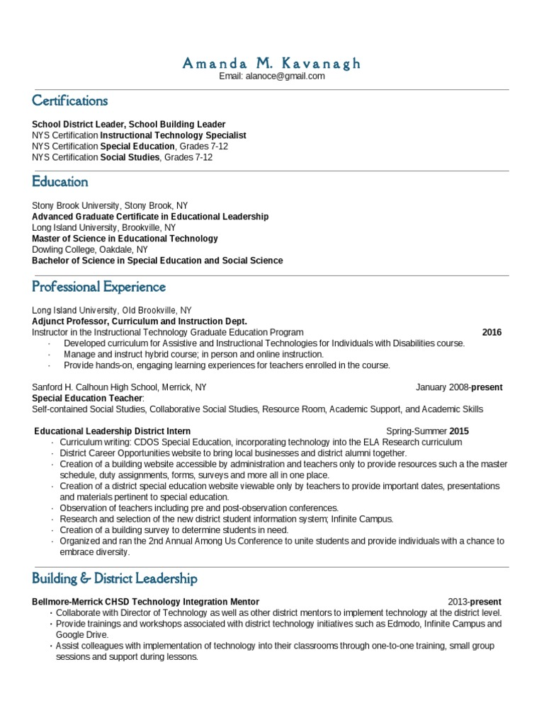 Kavanagh resume2016 admin site educational technology special kavanagh resume2016 admin site educational technology special education 1betcityfo Images