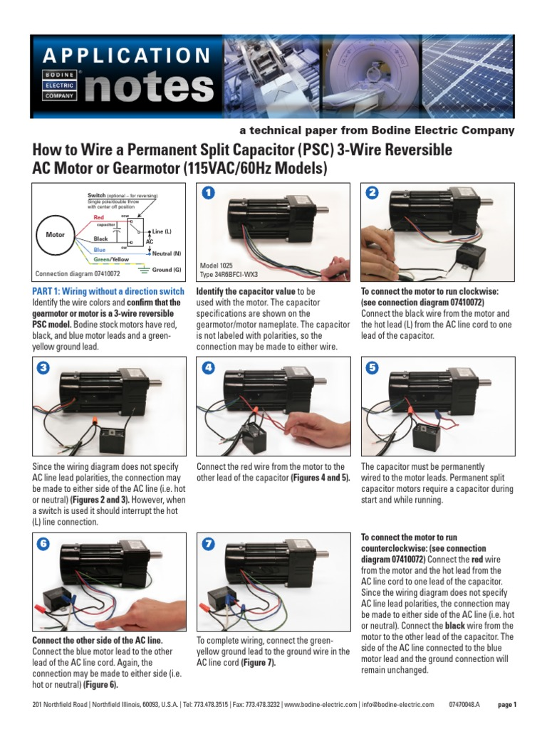 How to Wire a Permanent Split Capacitor (PSC) 3-Wire ...  Lead Motor Capacitor Wiring Diagram on