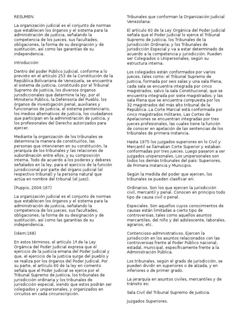 Organización Judicial En Venezuela Jurisdicción Juez