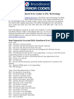 BSNL BB Error Codes in ADSL Technology