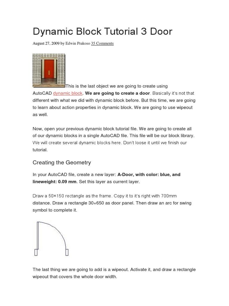 Dynamic Block Tutorial 3 Door | Door | Computer Programming