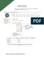 Cálculo de Materiales - Construcción piscina