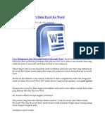 Cara Meng Inport Data Excel Ke Word