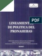 Lineamientos de Politica Del PRONAHEBAS
