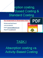 Absorption costing, Activity Based Costing & Standard Costing