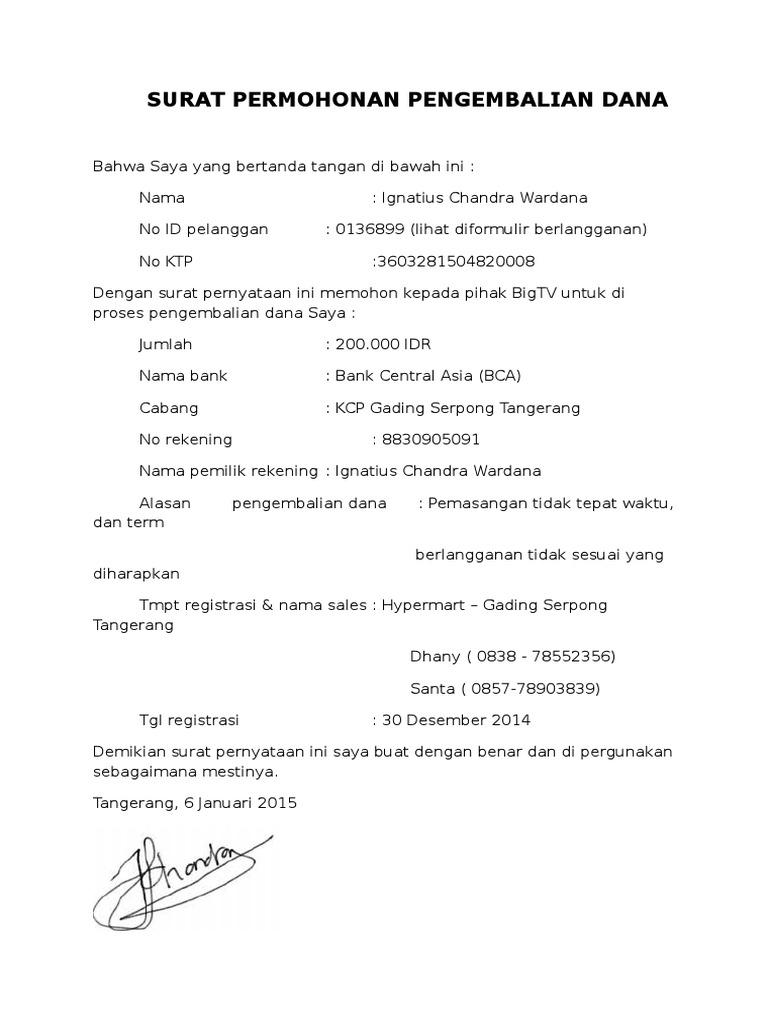 surat pernyataan refund