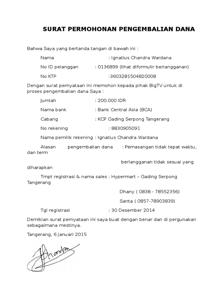 Surat Pernyataan Refund Ignatius Chandra Wardana