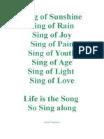 Sing of Sunshine