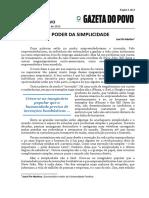 GAZETA DO POVO -O Poder Da Simplicidade - José Pio Martins - 29-05-2015