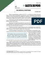GAZETA DO POVO - Da Missa a Metade - Luiz Felipe Pondé - 15-06-2015