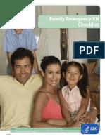Family Emergency Kit Checklist