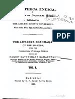 AitareyaBrahmanaWithSayanabhashyaVolume1-SatayvrataSamasrami1895bis