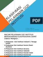 Klasifikasi Pelayanan Gizi Institusi