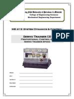 Lab11a_SERVO TRAINER 3 Proportional Control of Servo Trainer Speed