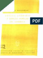 Rosenblat - Lengua Literaria y Lengua Popular en América