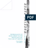 Determinants of Bank Credit to the Private Sector the Case of Albania