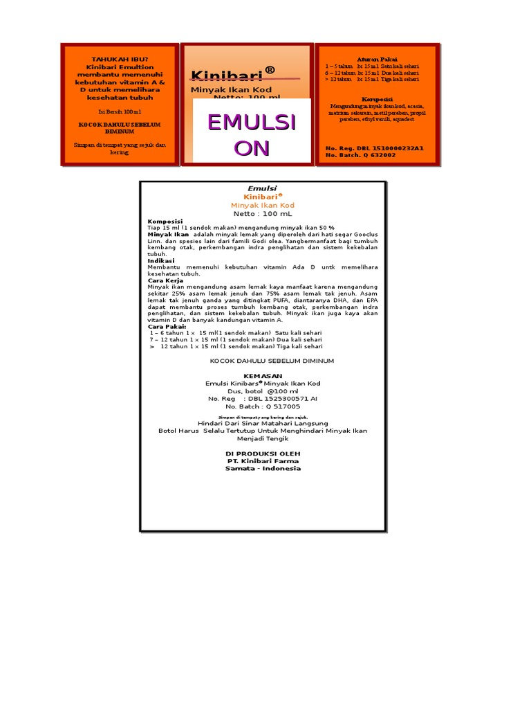 Etiket Wadah Brosur Emulsi Ikan Kod