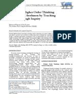 Improving Higher Order Thinking Skills Among Freshmen by Teaching Science Through Inquiry