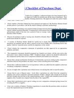 Purchase Audit Checklist