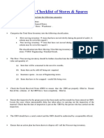 Stores and Spares Audit Checklist