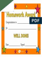 T M 458 Homework Award Certificate