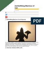 16 Secret Wishfulfilling Mantras of Lord Hanuman