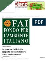 14.3.2016, 'Le Giornate Del Fai Alla Scoperta Dell'Architettura Liberty Nel Savonese', Carta Bianca News