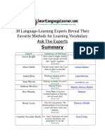 Ask the Exerts Vocab Summary