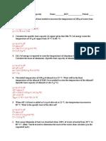 specific heat activity sheet key
