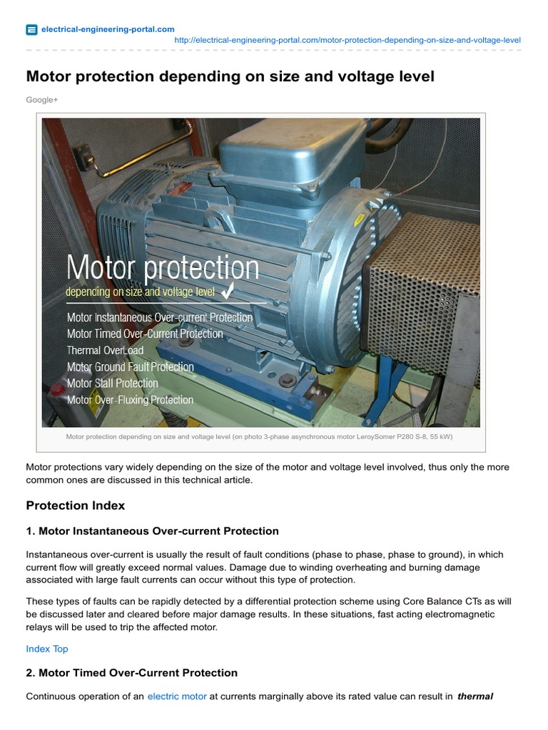 Motor Protection Depending on Size and Voltage Level | Relay ...