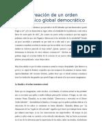 La creación de un orden económico global democrático