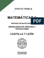 Programacion Tesela Matematicas 2 BACH Castilla y Leon