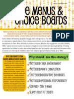 choice boards and menus