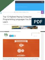 Top 12 Highest Paying Computer Programming Language