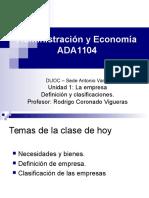 Def. y Clasificación en administración y economía